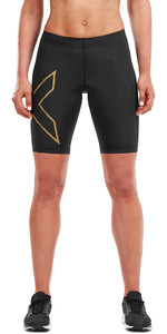 2019 2XU Womens MCS Run Shorts Schwarz / Gold WA5334b