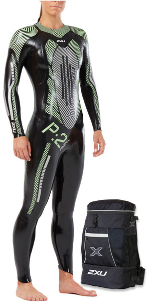 2018 2XU Womens P: 2 Propel Triathlon Wetsuit NOIR / MENTHE VERT WW4993c & Pack de transition gratuit