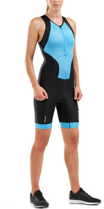 2019 2xu Mulheres Perform Front Zip Sleeveless Trisuit Preto / Aquarius Wt5533d