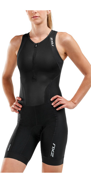 2019 2XU Womens Perform Front Zip Sleeveless Trisuit Black WT5533d