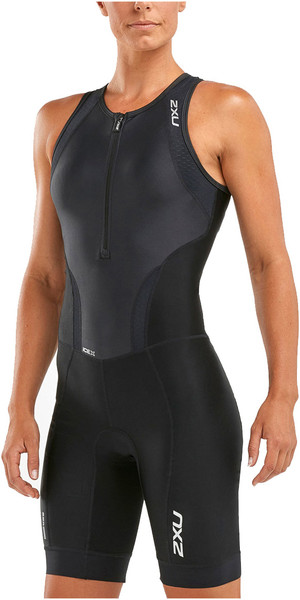 2018 2XU Womens Perform Front Zip Trisuit NEGRO WT4855d
