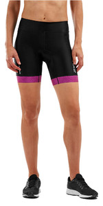"2019 2xu Dames Perform 7 ""tri Shorts Zwart / Berry Mesh Wt5539b"