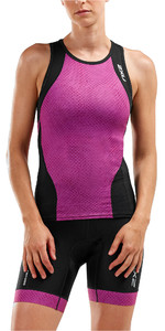 2019 2XU Womens Perform Tri Singlet Zwart / Berry Mesh WT5536a