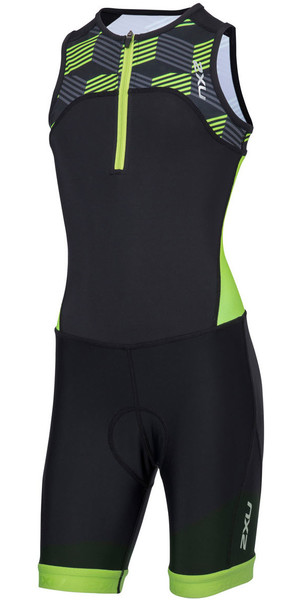 2018 2XU Youth Active Half Zip Trisuit nero / RETRO NEON GREEN CT4869d