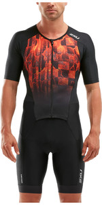 2020 2XU Mens Perform Full Zip Short Sleeve Trisuit MT5525D - Black / Flame Ombre