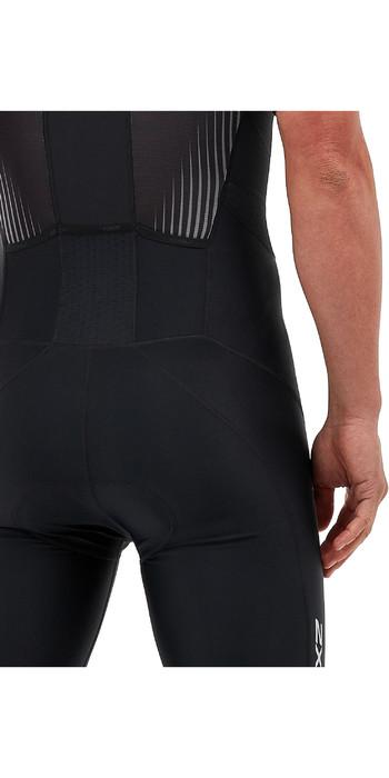 2021 2xu Herren Perform Kurzarm-Trisuit Mit Durchgehendem Reißverschluss Mt5525d - Schwarz / Schatten