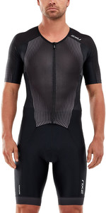 2020 2XU Mens Perform Full Zip Short Sleeve Trisuit MT5525D - Black / Shadow