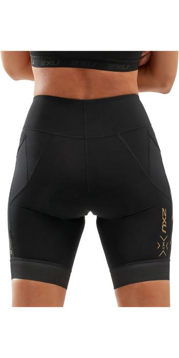 2020 2xu Damen Kompressions-Tri-Shorts Wt5524b - Schwarz / Gold