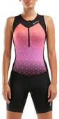 2021 2xu Frauen Active Half Zip Trisuit Wt5546d - Schwarz / Sunset Ombre