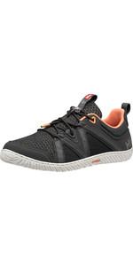 2020 Helly Hansen Zapatos De Vela Hp Foil F-1 Para Mujer 11316 - ébano / Carbón / Melón