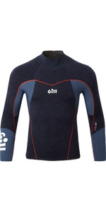 2020 Gill Junior Race Firecell Top In Neoprene Da 3.5mm Rs17j - Denim Scuro / Arancione