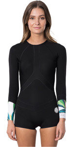 2020 Rip Curl Curl Dames G-bomb 1mm Madi Boyleg Longy Shorty Wetsuit WSP9CW - Zwart / Wit