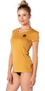 2020 Rip Curl Womens White Wash Loose Fit Short Sleeve Rash Vest WLU9QW - Mustard