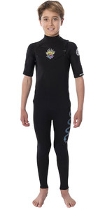 2020 Rip Curl Junior Boy's Dawn Patrol 2mm Manga Curta No Chest Zip Wetsuit Wsm9ub - Preto