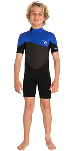 2020 Rip Curl Junior Boys Omega 1.5mm Back Zip Spring Shorty Wetsuit WSPYFB - Blue