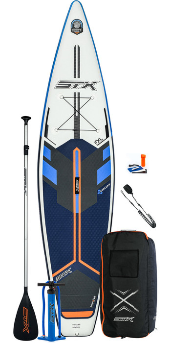 2021 STX Touring 14'0 Inflatable Stand Up Paddle Board Package - Board, Bag, Paddle, Pump & Leash - Blue / Orange