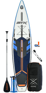 2020 Stx Touring 12'6 Paquete Inflable De Stand Up Paddle Board - Tabla, Bolsa, Pala, Bomba Y Correa - Azul / Naranja