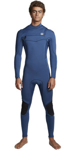 2020 Billabong Mens Furnace Absolute 4/3mm Chest Zip Wetsuit S44M52 - Blue Indigo