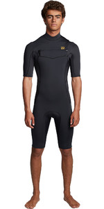2019 Billabong Homens Absolute 2mm Flatlock Chest Zip Shorty Wetsuit S42m70 - Preto Antigo