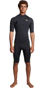 2020 Billabong Mens Absolute 2mm Flatlock Chest Zip Shorty Wetsuit S42M70 - Lime