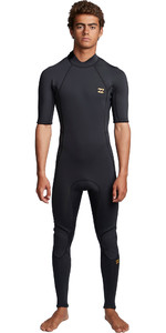 2020 Billabong Heren Absolute 2mm Back Zip Wetsuit Met Korte Mouwen En Back Zip S42M69 - Antiek Zwart