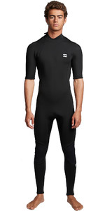 2020 Billabong Heren Absolute 2mm Back Zip Wetsuit Met Korte Mouwen En Back Zip S42M69 - Zwart