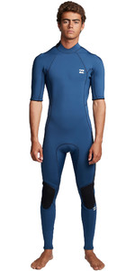 2020 Billabong Heren Absolute 2mm Back Zip Wetsuit Met Korte Mouwen En Back Zip S42m69 - Blauwe Indigo