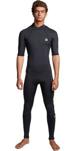 2020 Billabong Heren Absolute 2mm Back Zip Wetsuit Met Korte Mouwen En Back Zip S42M69 - Limoen