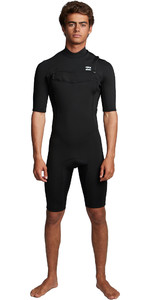 2020 Billabong Homens Absolute 2mm Flatlock Chest Zip Shorty Wetsuit S42m70 - Preto