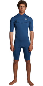 2020 Billabong Mens Absolute 2mm Flatlock Chest Zip Shorty Wetsuit S42M70 - Blue Indigo