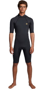 2020 Billabong Heren Absolute 2mm Flatlock Back Zip Shorty Wetsuit S42M71 - Antiek Zwart