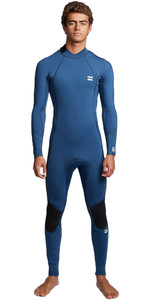 2020 Billabong Mens Furnace Absolute 3/2mm Flatlock Back Zip Wetsuit S43M57 - Blue Indigo