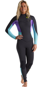 2020 Billabong Vrouwen Furnace Synergy 4/3mm Chest Zip Wetsuit S44g52 - Blue Lagoon