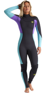 2020 Billabong Dames Synergy 3/2mm Flatlock Wetsuit Met Chest Zip S43G54 - Blauwe Lagune