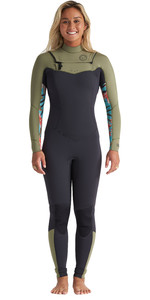 2020 Billabong Dames Salty Dayz 4/3mm Wetsuit Met Chest Zip S44g51 - Aloë