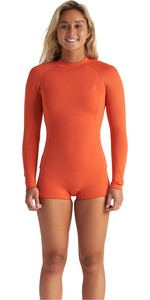 2020 Billabong Dames Spring Fever 2mm Shorty Wetsuit Met Lange Mouwen S42g59 - Samba