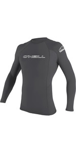 2020 O'Neill Mens Basic Skins Long Sleeve Crew Rash Vest 3342 - Smoke