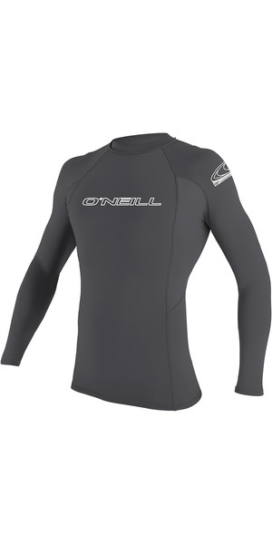 2019 O'Neill Mens Basic Skins Long Sleeve Crew Rash Vest Smoke 3342