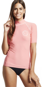 2020 Billabong Womens Logo In Short Sleeve Rash Vest S4GY02 - Coral Kiss