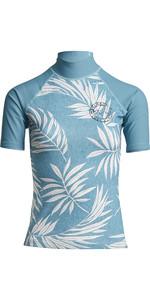 2020 Billabong Dames Surf Capsule Logo Rash Vest Met Korte Mouwen S4gy11 - Zeeblauw