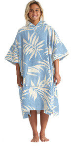 2020 Billabong à Capuchon Changement Poncho Femmes Serviette S4br50 - Bleu Palms
