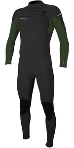 2021 O'Neill Mannen Hammer 3/2mm Chest Zip Wetsuit 4926 - Zwart / Dark Olive