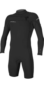 2020 De Los Hombres O'Neill Hammer 2mm De Manga Larga Chest Zip Shorty Wetsuit 4928 - Negro