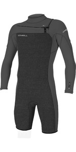 2020 O'Neill Mens Hammer 2mm Long Sleeve Chest Zip Shorty Wetsuit 4928 - Acid Wash / Smoke