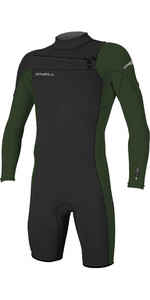 2020 De Los Hombres O'Neill Hammer 2mm De Largo De La Manga Chest Zip Shorty Wetsuit 4928 - Negro / Oscuro Olive