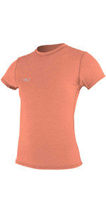 2020 O'Neill Womens Hybrid Short Sleeve Surf Tee 4675 - Light Grapefruit