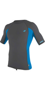 2020 O'Neill Mens Premium Skins Short Sleeve Rash Vest 4169B - Smoke / Brite Blue