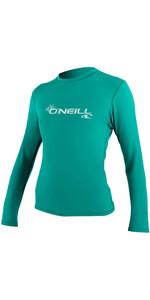 2020 O'Neill Basic Skins Rash T-shirt Met Lange Mouwen 4340 Voor Dames - Light Aqua