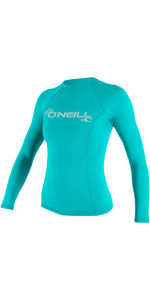 2020 O'Neill Womens Basic Skins Long Sleeve Crew Rash Vest 3549 - Light Aqua