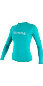 2021 O'neill Damen Basic Skins Langarm Crew Rash Weste 3549 - Light Aqua